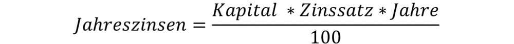 Berechnung der Jahreszinsen Formel