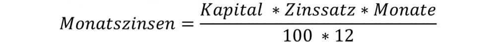 Monatszinsen berechnen Formel
