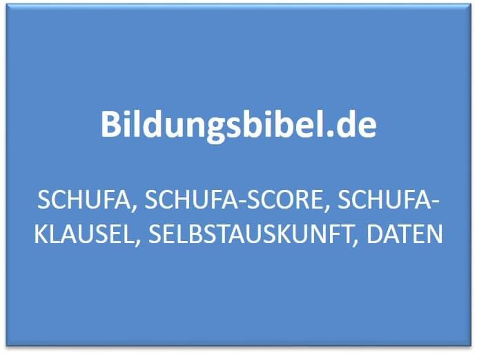 Die Schufa - Schuldnerfachauskunft, Schufa-Score und Klausel, die Selbstauskunft und die Daten