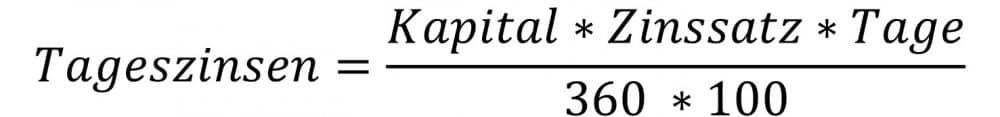 Tageszinsformel mit Kapital, Zinssatz und Tage