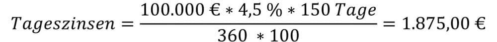 Die Zinsrechnung mit Tageszinsformel am Beispiel