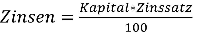 Zinsrechnung Formel für die Zinsen