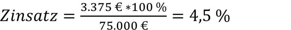 Zinssatz berechnen Beispiel