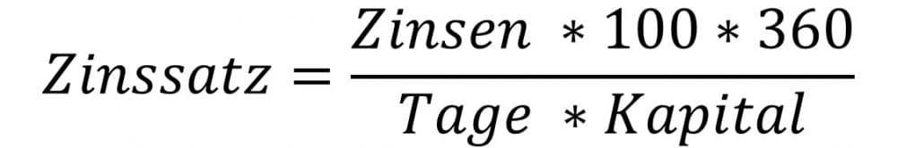 Zinssatz berechnen mit der Tageszinsformel